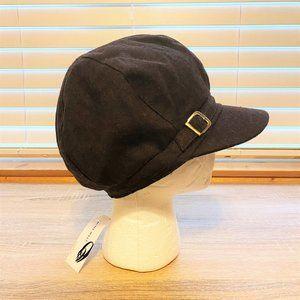 NWT Sz OS Nine West Brown Buckle Band Newsboy Hat